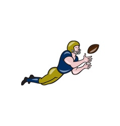 American football receiver catching ball cartoon vector
