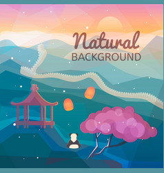Asian natural background vector