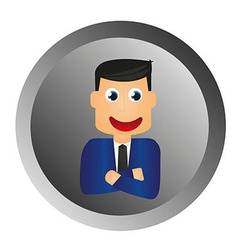 businessman button vector image vector image