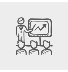 Businessman giving a presentation sketch icon vector image