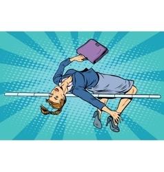 Businesswoman high jump vector