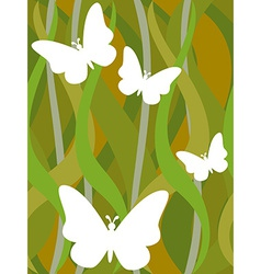 Butterflies on seamless dark green wavy pattern vector