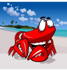 Cartoon funny happy crab on the tropical coast vector
