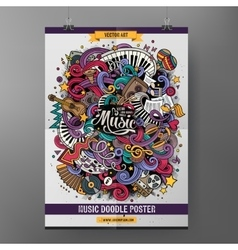 Cartoon hand-drawn doodles musical poster vector