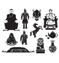 China history mono objects set vector