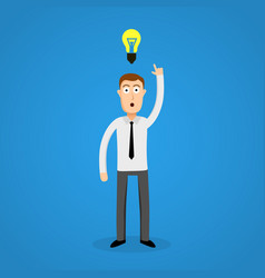 clever business man and idea bulb vector image