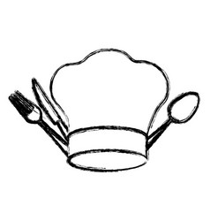 Contour hat with cutlery icon vector