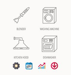 Dishwasher washing machine and blender icons vector