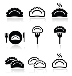 Dumplings food icons set vector image vector image