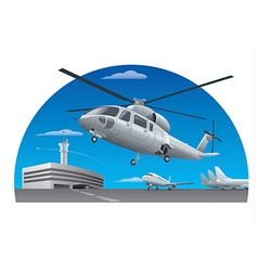 Flying helicopter in airport vector