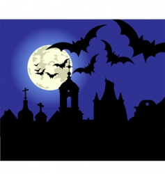 Halloween night in the town vector image vector image