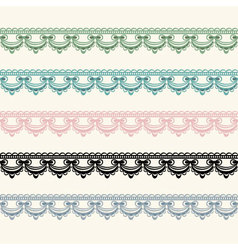 Horizontal seamless lace in five color versions vector image vector image
