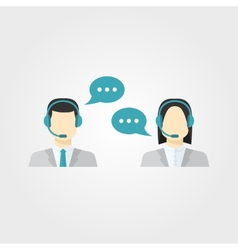 Icons set male and female call center avatars vector