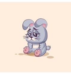 Isolated emoji character cartoon gray leveret sad vector