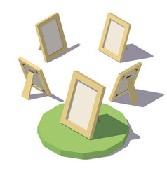 Isometric low poly photo frame vector