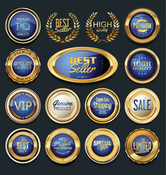 Luxury gold and blue design badges and labels vector