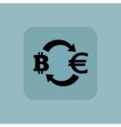 Pale blue euro bitcoin icon vector image vector image