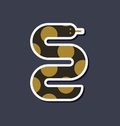 Paper sticker on stylish background wildlife snake vector