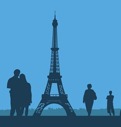 Paris the eiffel tower on a blue background vector