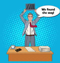 pop art businessman holding laptop above his head vector image vector image