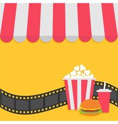 Popcorn hamburger and soda with straw Film strip vector image