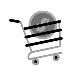 Shopping cart online coin dollar gray color vector