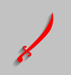 Sword sign red icon with vector
