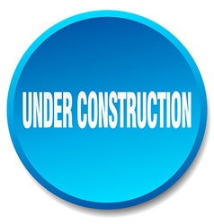 Under construction blue round flat isolated push vector