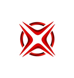 X letter red abstract technology logo vector