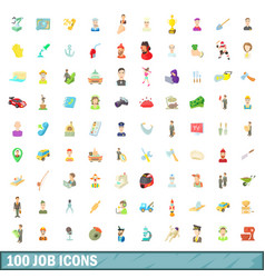 100 job icons set cartoon style vector
