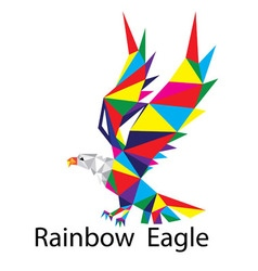Rainbow geometric eagle logo vector