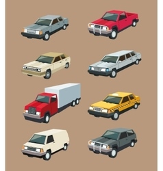 Auto truck garage car set design vector