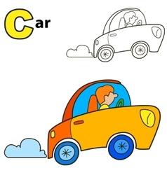 Car Coloring book page Cartoon vector image