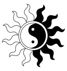 Ying yang symbol in sun vector image