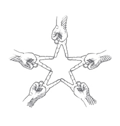 Hand drawn star formed by human fingers vector image