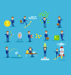 set of businessmen achieving success money concept vector image