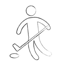 Silhouette of athlete practicing hokey vector