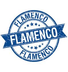 Flamenco grunge retro blue isolated ribbon stamp vector