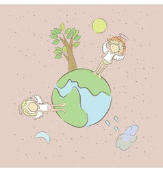 Sad lonely angels on a small planet vector
