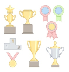 Set of award success and victory colorful line vector
