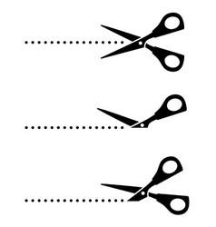 Set of scissors with black points vector