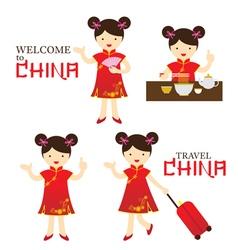 Chinese Girl Dress Cheongsam Character Set vector image