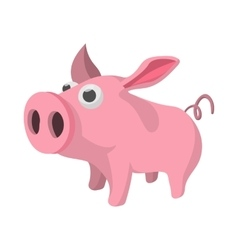 Pig cartoon icon vector