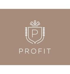 Elegant monogram letter P logotype Premium crest vector image