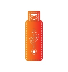 Usb flash drive sign orange applique vector