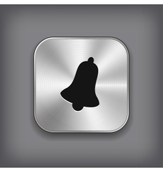 Bell icon - metal app button vector image