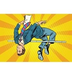Businessman high jump vector