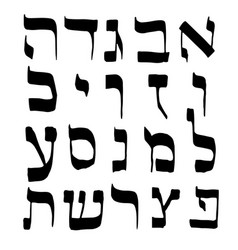 calligraphic font hebrew letter alphabet hand draw vector image