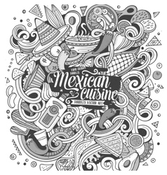 Cartoon cute doodles Mexican food vector image