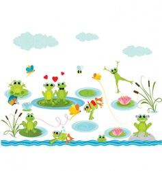 cartoon frogs vector image vector image